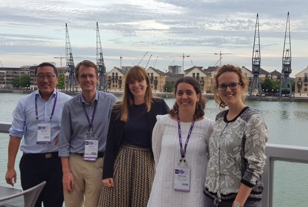 William, myself, Clare, Maelenn and Majlenn (apologies for the spelling!) on the balcony overlooking the Thames at the DRI reception