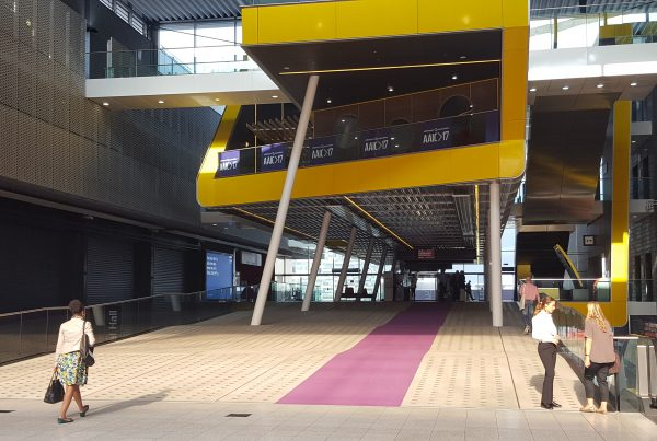The grand entrance to the Excel Centre, this site of this year's AAIC meeting.
