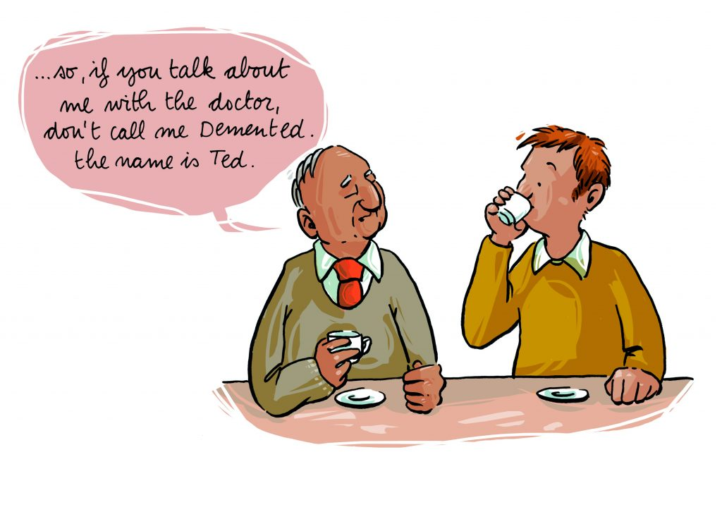 Example of a cartoon highlighting the importance of respectful language when speaking to or about people with dementia